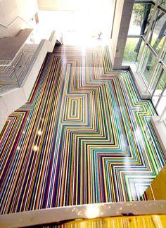 ZOBOP, colored vinyl floor by Jim Lambie