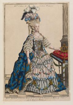 A print of Marie Antoinette in court dress. Fashion magazines started not only for the upper class but for the lower classes for dress inspiration. Rococo Fashion, French Fashion, Victorian Fashion, Vintage Fashion, 18th Century Dress, 18th Century Fashion, Marie Antoinette, Costume Français, Costumes