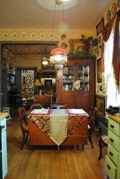 Folk Victorian Decor | Dining area of kitchen. Victorian.