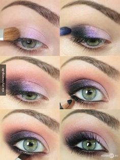 Eye Makeup - How to Do Night Makeup for Green Eyes Eyeshadow For Green Eyes, Purple Eye Makeup, Makeup For Green Eyes, Skin Makeup, Smokey Eyeshadow, How To Do Eyeshadow, Urban Decay Eyeshadow, Pink Eyeshadow, Eyeshadow Palette