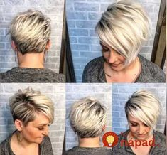 Týchto 11 lacných trikov by mala poznať každá dáma po 40-tke: Ženy, toto by mala vedieť každá jedna z nás - perfektné veci! Asymmetrical Pixie Haircut, Pixie Haircut For Round Faces, Short Hair Cuts For Round Faces, Longer Pixie Haircut, Long To Short Hair, Short Grey Hair, Round Face Haircuts, Short Bob Haircuts, Short Blonde