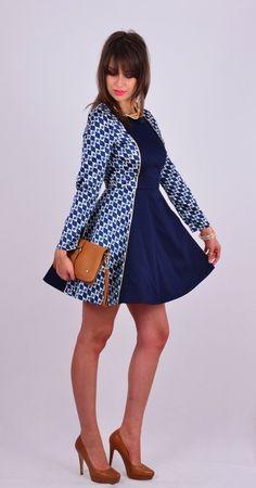 Jedwabno-bawełniana sukienka z pół koła w NAT Fashion Room na DaWanda.com