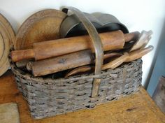 The Cottage Market: Decorating with Baskets--Vintage Kitchen Items in Basket. Primitive Homes, Primitive Kitchen, Primitive Antiques, Old Kitchen, Country Primitive, Vintage Kitchen, Primitive Decor, Kitchen Items, Kitchen Utensils