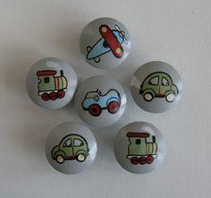 Vintage Transportation Drawer Pulls - set of 4. $24.00, via Etsy. Hand Painted Rocks, Dresser Knobs, Nursery Room, Bedroom, Baby Boy Nurseries, Drawer Pulls, Rock Art, Vintage Cars, Vibrant Colors