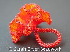 Nasturtium Ring a ruffled beadwoven joy of by SarahCryerBeadwork