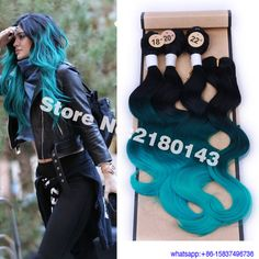 Black Roots Green Hair Weave Synthetic Hair Body Wave 3 Bundles With Closure Green Ombre Hair Extensions Cheap Price Wholesale