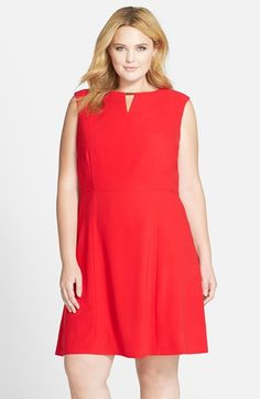 Tahari Embellished Keyhole Neckline Crepe Fit & Flare Dress (Plus Size) available at #Nordstrom