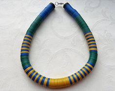 African necklace, artful, contemporary design using African Vulcanite Trade Beads, colorful