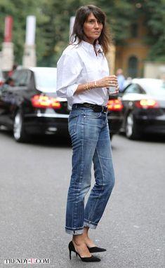 Белая рубашка и джинсы на моднице за 40
