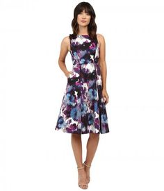 Adrianna Papell - Tea Length Pleated Fit and Flare (Purple Multi) Women's Dress
