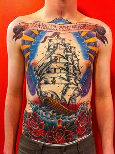 Traditional style #ship chest #tattoo