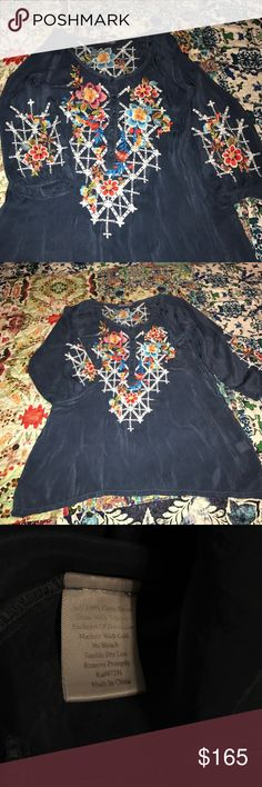 """Johnny Was embroidered blue tunic  Blouse L Johnny Was embroidered tunic in Large. Has several buttons down front. It is a beautiful blue with bright colored embroidered flowers.. in great used condition. Measures 29"""" long & approximately 22"""" bust . Johnny Was Tops Tunics"""