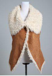 $13.43 Beam Waist Pockets Fleece Stitching Cotton Blend Color Matching Vest For Women