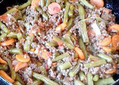 Carne molida con ejote y zanahoria