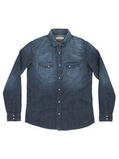 Classic dark denim shirt #SUN68 #SS16 #woman #shirt #college #denim