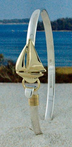 14K Gold Sailboat on Sterling Silver Hook Bracelet with Gold Nautical Rope--also available in Sterling Silver