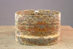 Wide Beadwoven Abstract Pattern Bracelet by mostlybeads
