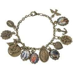 From @Catholic Company - this is on my wish list! Antique finish bracelet contains holy images and symbols of our faith. $23.95 -