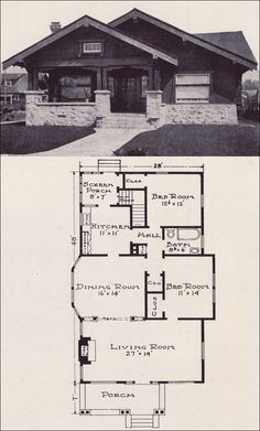 Plan No. Stillwell & Co. - Craftsman-style with Asian Influence - Bungalow House Plan Front bedroom into den, back bedroom into mudroom/ laundry, bedrooms upstairs Bungalow House Plans, Small House Plans, House Floor Plans, Vintage House Plans, Vintage Houses, Cottages And Bungalows, Craftsman Bungalows, Craftsman Style, Craftsman Homes
