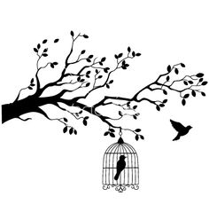 Illustration of Tree silhouette with bird flying vector art, clipart and stock vectors. Silhouette Tattoos, Bird Silhouette, Cage Tattoos, Wall Murals, Wall Art, Diy Wall, Wall Decal, Illustrations, Painting Inspiration