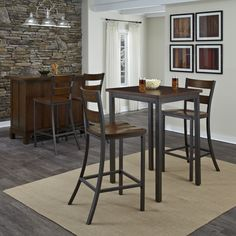 """Cabin Creek 3-piece Bistro Set - Overstock™ Shopping - Big Discounts on Pub Sets $387, table 30"""" wide, 30 deep, 42 tall"""