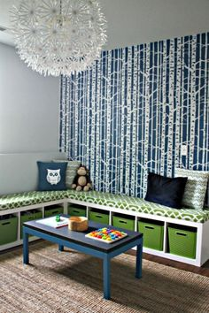 IKEA is Brilliant! Expedit Double Duty Hack: Corner Storage & Seating I Heart Organizing--for the basement/kids room