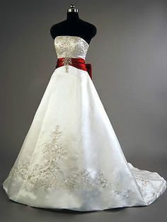 Plus Size Satin Wedding Dress Embroidery White and Red Bridal Gown Custom 4-26++