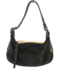 Coach Hobo Purse Solid Black Leather & Textile Womens Handbag Size Small #Coach #Hobo