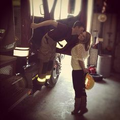 Best Friend. Boyfriend. Firefighter love.  I like this photo because I know my man has never given up on his firefighter dream and I can't wait when we can celebrate it together. And obvi take pics at the fire station:)