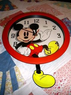 Disney Mickey Mouse Large Wall Clock, Second Hand Leg Swing, Unique