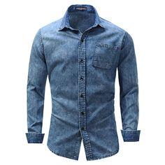 Mens Cotton Denim Blue Pocket Fashion Spring Casual Shirt