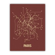 """Paris Screen Print Red.    Created by graphic designer Cayla Ferari and engineer John Breznicky, this Paris Lineposters Screen Print depicts the Parisian transit system with a stripped down tan graphic. Made from hand mixed, custom PMS inks printed on brick red cover paper, each one of these super cool limited-edition screen prints is signed on the reverse side. And with a standardized size of 18""""x24"""", framing is easy and affordable."""
