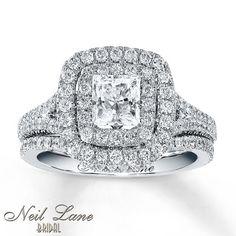 Diamond Bridal Set 2 ct tw Princess-cut 14K White Gold