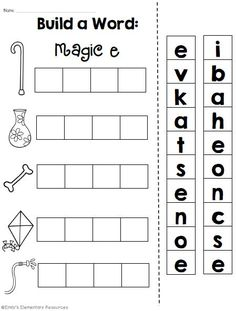 Magic e word work printables for CVCe practice