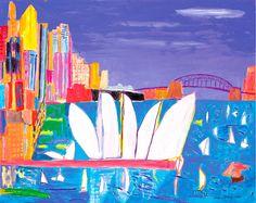 Sydney Harbour, turquoise sea, black liner, 2006 : The Ken Done Galler… National Art School, Kendo, Australian Artists, Australian Painters, Naive Art, Aboriginal Art, Magazine Art, Limited Edition Prints, Art Google