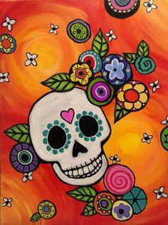 Our Paintings Gallery 1 — Graffiti Paintbar Sugar Skull Artwork, Sugar Skull Painting, Sugar Skulls, Halloween Painting, Diy Painting, Halloween Canvas Paintings, Rock Painting, Day Of The Dead Artwork, Mexican Paintings