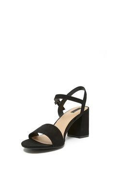 A pair of faux suede sandals featuring an open toe, ankle strap, and a chunky block heel.