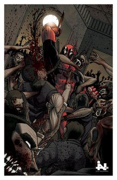 Deadpool vs Zombies Color by Ian-Navarro Comic Book Characters, Comic Character, Comic Books Art, Comic Art, Marvel Dc Comics, Marvel Heroes, Anime Comics, X Men, Hulk
