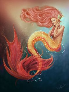It is a rare phenomenon when starfish come down so close to the oceans, and this curious mermaid is lucky to see this amazing event happen. Photoshop + Intuos .........................................