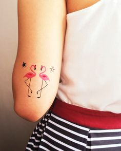 Pink Flamingo Bird Tattoos with Stars Inspirational little Bird Tattoos for on wrist, back, chest or arm with images and designs. Cute love bird tattoos, black, phoenix and hummingbird tattoos. Mini Tattoos, Small Bird Tattoos, Little Bird Tattoos, Body Art Tattoos, Sister Tattoos, Friend Tattoos, Star Tatoo, Tattoo Pequeños Mujer, Flamingo Tattoo
