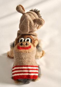 Sock-Monkey Dog Sweater with Ears-Sock-Monkey Dog Sweater with Ears. Sock-Monkey Dog Sweater with Ears by Chilly Dog. A novel take on a fun classic! The Sock-Monkey Dog Sweater sweater is hand-knit and wool. The dyes come from plants and are nat Dolly Parton, Large Dogs, Small Dogs, Chilly Dogs, Knit Dog Sweater, Hooded Sweater, Knit Sweaters, Small Dog Sweaters, Dog Boutique