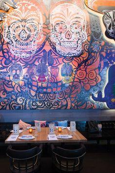 Mexican Sugar skull street art inspired wall- Mexican NZ- www.flyingburritobrothers.co.nz