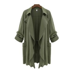 Pocket Embellished Turndown Collar Trench Coat (315.100 IDR) ❤ liked on Polyvore featuring outerwear, coats, jackets, tops, green, long trench coat, long sleeve coat, print coat, long coat and collar coat