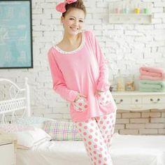 Sweet Princess - Pajama Set: Lace-TrimTop + Polka-Dot Pants