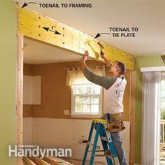 """Removing wall from kitchen to living room! How to install a Load Bearing Beam (DIY) see. We can totally tear down that little """"load-bearing wall"""" Home Improvement Projects, Home Projects, Furniture Projects, Diy Furniture, Modern Furniture, Furniture Design, Outdoor Furniture, Home Renovation, Home Remodeling"""