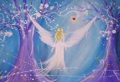"""Wunderschön! :-) Limited angel art poster """"in your heart"""", modern contemporary angel painting, artwork, print, glossy photo,"""