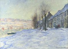 Lavacourt under Snow by Claude Monet in oil on canvas, done in Now in the National Gallery. Find a fine art print of this Claude Monet painting. Monet Paintings, Impressionist Paintings, Landscape Paintings, Impressionism Art, Claude Monet, Pierre Auguste Renoir, Artist Canvas, Canvas Art, Wall Canvas