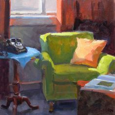 Timothy Horn > Green Chair | 10x10 inches