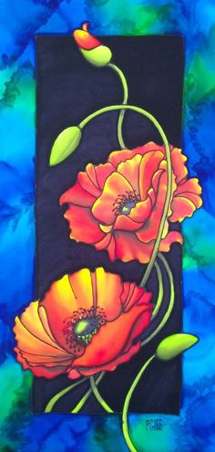 """Terri's Poppies"", 24 x 12 inches. Silk painting by Pamela Glose. Learn to paint silk with her audio/visual ebooks at http://www.mysilkart.com/mysilkart-ebooks-2/:"
