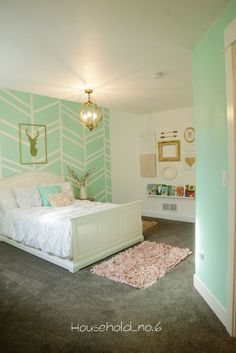 Little girls mint and gold bedroom, Harringbone wall, kids space.Household No.6 » Northern Colorado renovations and designs